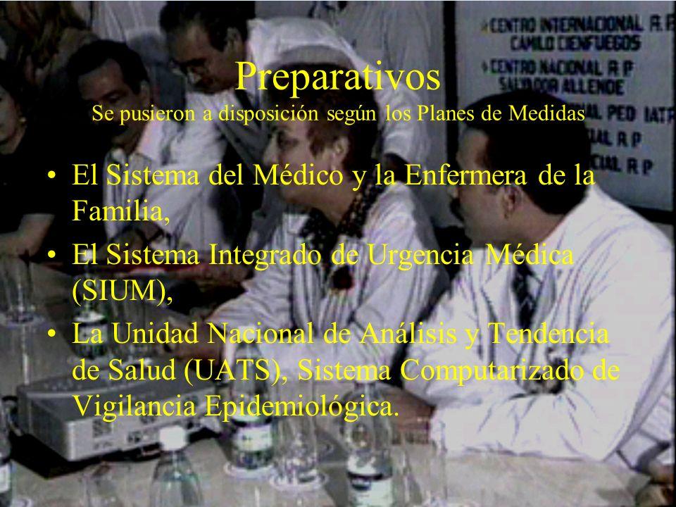 Preparativos Se pusieron a disposición según los Planes de Medidas El Sistema del Médico y la Enfermera de la Familia, El Sistema Integrado de Urgenci