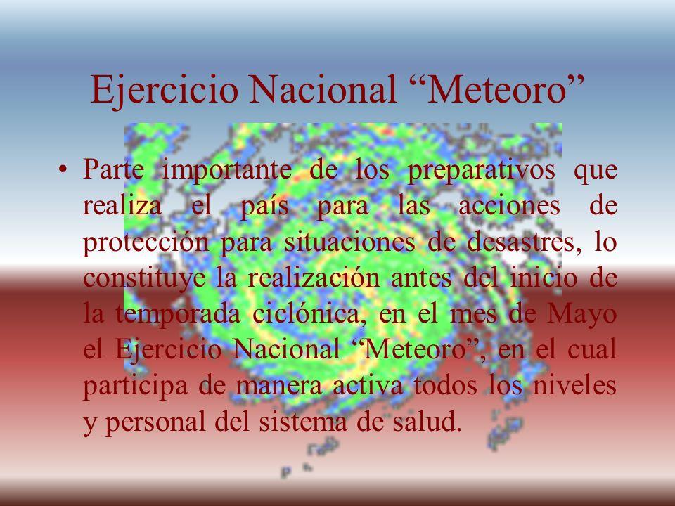 Ejercicio Nacional Meteoro Parte importante de los preparativos que realiza el país para las acciones de protección para situaciones de desastres, lo