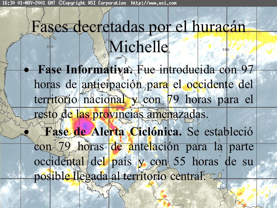 Fases decretadas por el huracán Michelle Fase Informativa. Fue introducida con 97 horas de anticipación para el occidente del territorio nacional y co