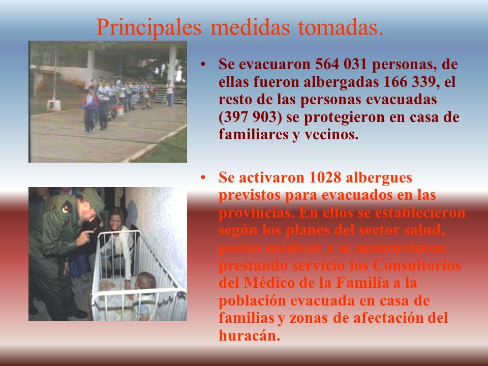 Principales medidas tomadas. Se evacuaron 564 031 personas, de ellas fueron albergadas 166 339, el resto de las personas evacuadas (397 903) se proteg
