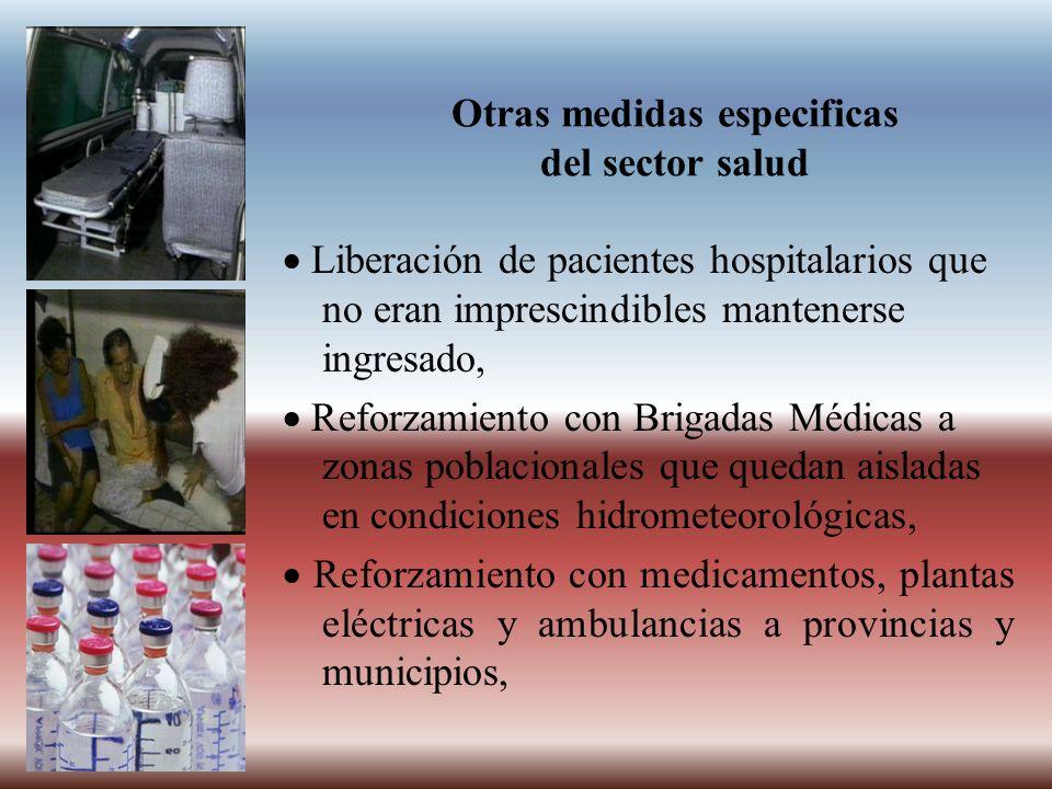 Otras medidas especificas del sector salud Liberación de pacientes hospitalarios que no eran imprescindibles mantenerse ingresado, Reforzamiento con B