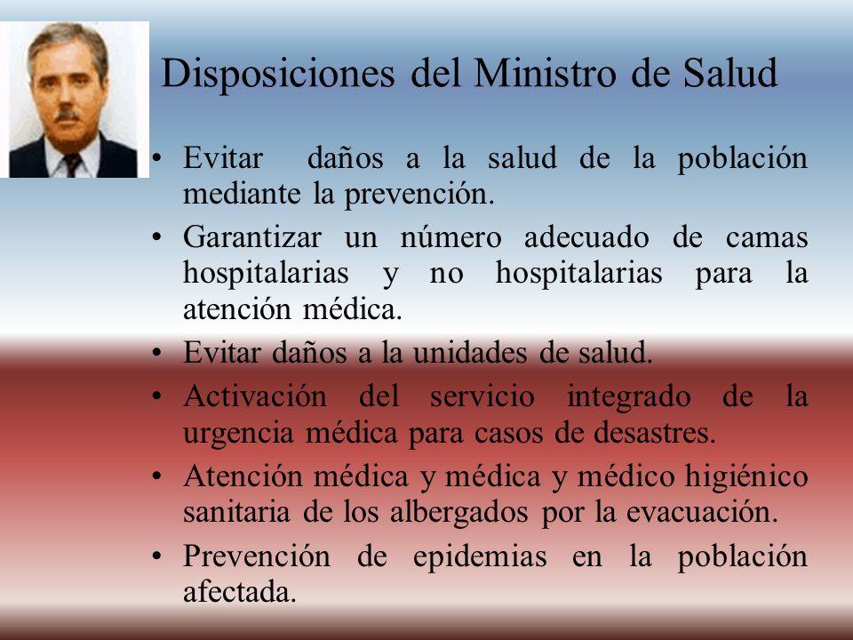 Disposiciones del Ministro de Salud Evitar daños a la salud de la población mediante la prevención. Garantizar un número adecuado de camas hospitalari