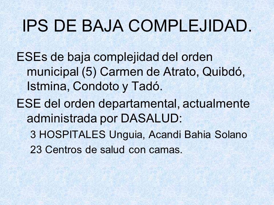 IPS DE BAJA COMPLEJIDAD. ESEs de baja complejidad del orden municipal (5) Carmen de Atrato, Quibdó, Istmina, Condoto y Tadó. ESE del orden departament