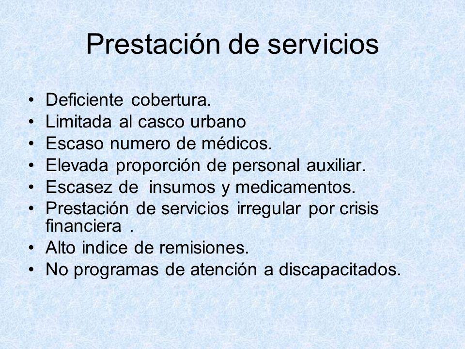 Prestación de servicios Deficiente cobertura. Limitada al casco urbano Escaso numero de médicos. Elevada proporción de personal auxiliar. Escasez de i