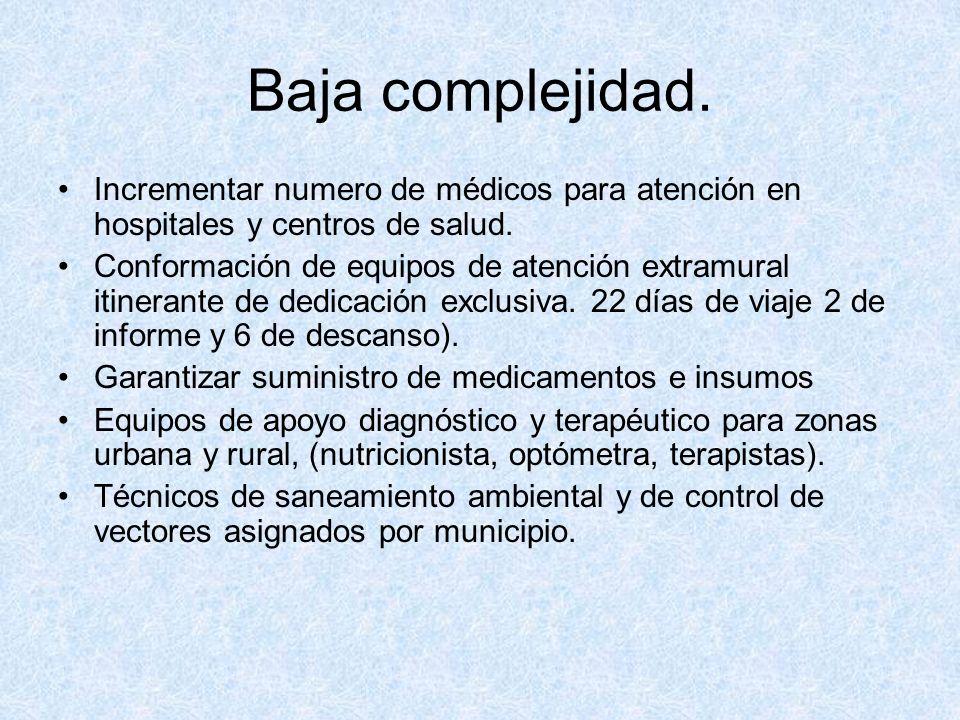 Baja complejidad. Incrementar numero de médicos para atención en hospitales y centros de salud. Conformación de equipos de atención extramural itinera