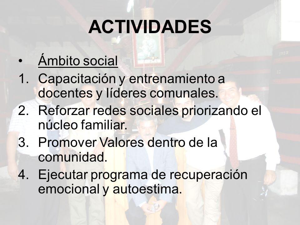 ACTIVIDADES Ámbito social 1.Capacitación y entrenamiento a docentes y líderes comunales.