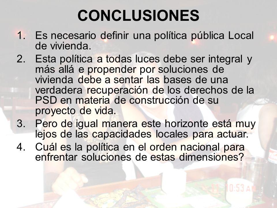 CONCLUSIONES 1.Es necesario definir una política pública Local de vivienda.