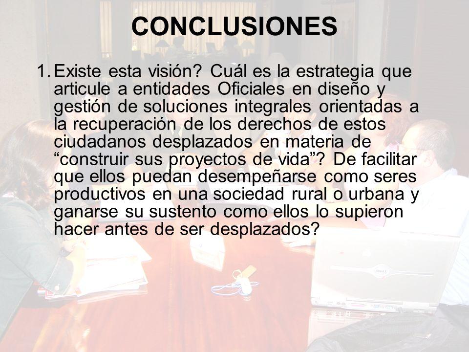 CONCLUSIONES 1.Existe esta visión.