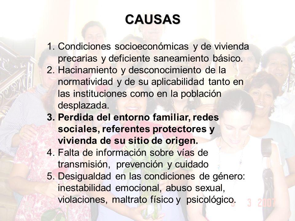 CAUSAS 1.Condiciones socioeconómicas y de vivienda precarias y deficiente saneamiento básico.
