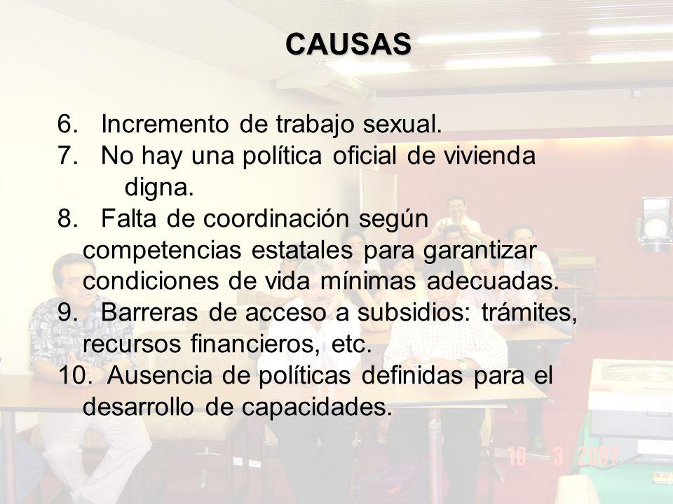 CAUSAS 6.Incremento de trabajo sexual. 7. No hay una política oficial de vivienda digna.