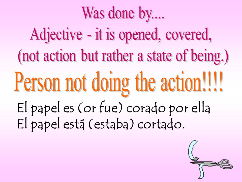 abrir (to open) - abierto (open) cubrir (to cover) - cubierto (covered) decir (to say) - dicho (said) escribir (to write) - escrito (written) freír (to fry) - frito (fried) hacer (to do) - hecho (done) morir (to die) - muerto (dead) poner (to put) - puesto (put) resolver (to resolve) - resuelto (resolved) romper (to break) - roto (broken) ver (to see) - visto (seen) volver (to return) - vuelto (returned)