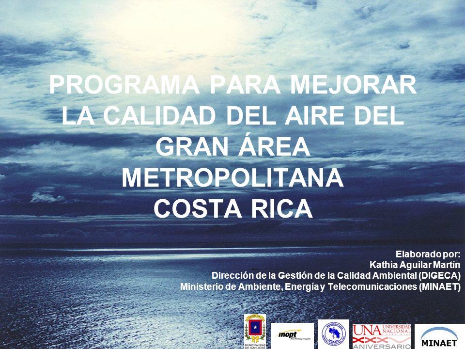 PROGRAMA PARA MEJORAR LA CALIDAD DEL AIRE DEL GRAN ÁREA METROPOLITANA COSTA RICA Elaborado por: Kathia Aguilar Martín Dirección de la Gestión de la Ca