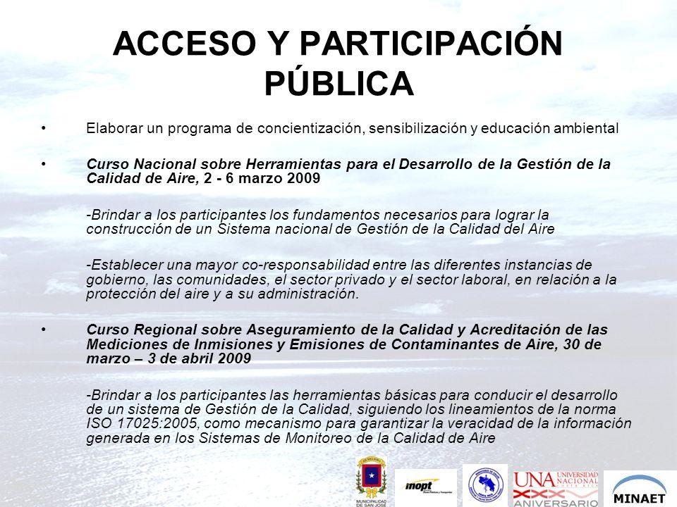 ACCESO Y PARTICIPACIÓN PÚBLICA Elaborar un programa de concientización, sensibilización y educación ambiental Curso Nacional sobre Herramientas para e