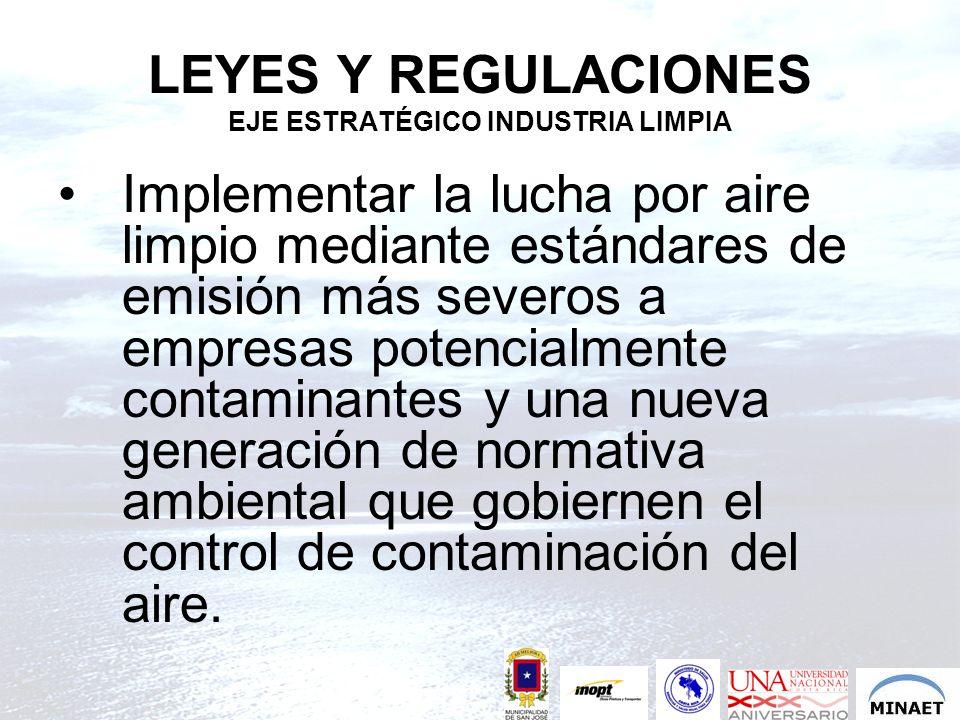 LEYES Y REGULACIONES EJE ESTRATÉGICO INDUSTRIA LIMPIA Implementar la lucha por aire limpio mediante estándares de emisión más severos a empresas poten