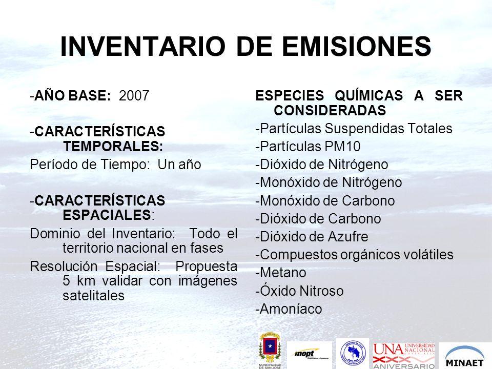 INVENTARIO DE EMISIONES -AÑO BASE: 2007 -CARACTERÍSTICAS TEMPORALES: Período de Tiempo: Un año -CARACTERÍSTICAS ESPACIALES: Dominio del Inventario: To