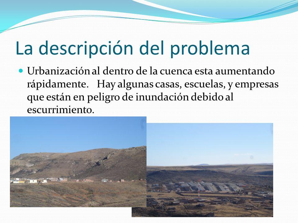La descripción del problema Urbanización al dentro de la cuenca esta aumentando rápidamente. Hay algunas casas, escuelas, y empresas que están en peli