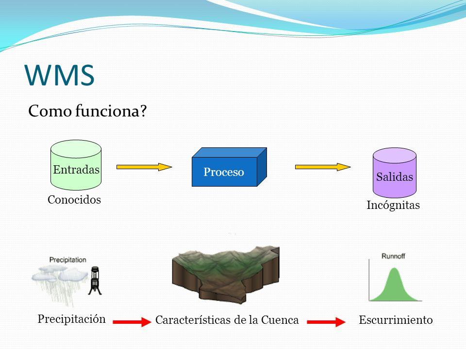 WMS Como funciona? Proceso Entradas Salidas Conocidos Incógnitas Escurrimiento Precipitación Características de la Cuenca