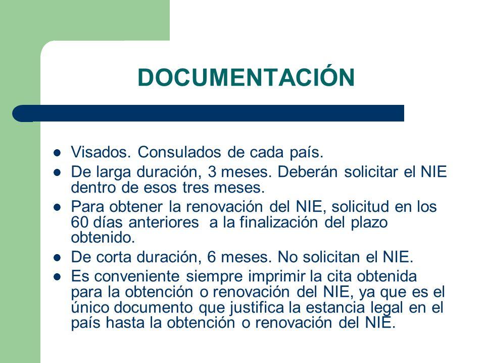 DOCUMENTACIÓN Visados. Consulados de cada país. De larga duración, 3 meses.