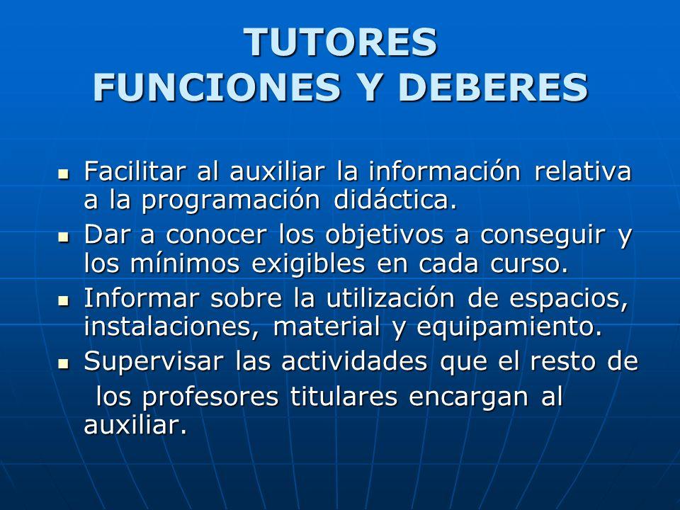 Facilitar al auxiliar la información relativa a la programación didáctica. Facilitar al auxiliar la información relativa a la programación didáctica.