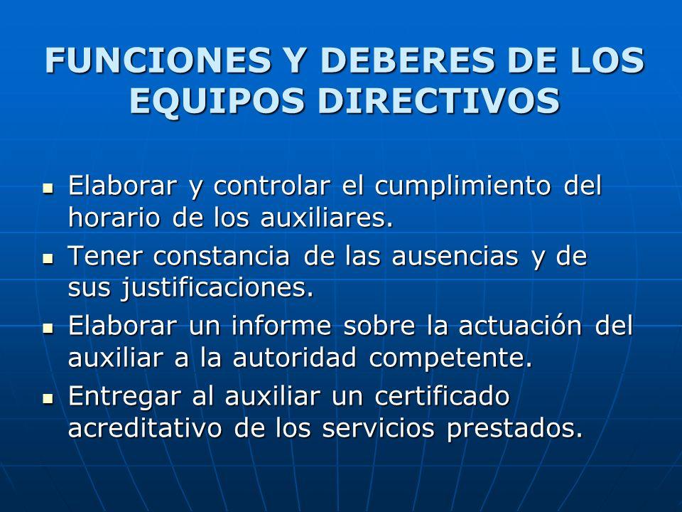 FUNCIONES Y DEBERES DE LOS EQUIPOS DIRECTIVOS Elaborar y controlar el cumplimiento del horario de los auxiliares. Elaborar y controlar el cumplimiento