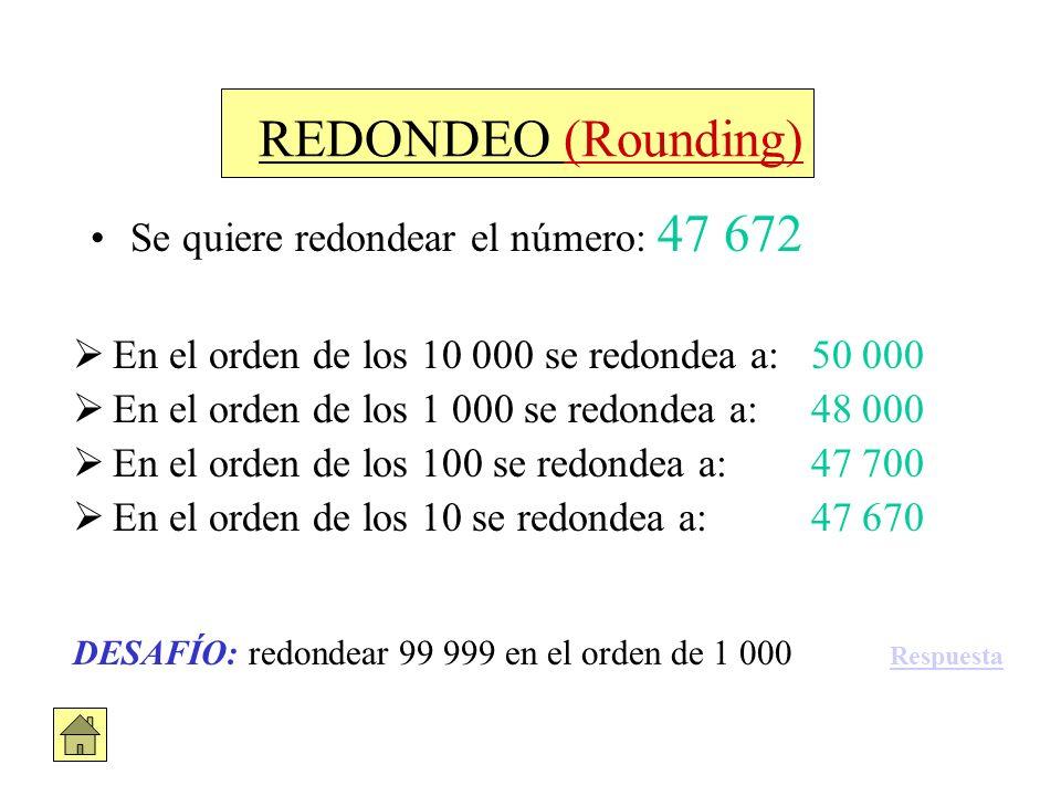 REDONDEO (Rounding) Se quiere redondear el número: 47 672 En el orden de los 10 000 se redondea a: 50 000 En el orden de los 1 000 se redondea a: 48 0