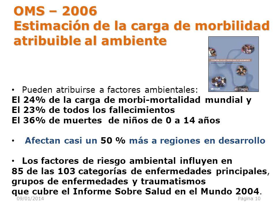 09/01/2014Página 10 Pueden atribuirse a factores ambientales: El 24% de la carga de morbi-mortalidad mundial y El 23% de todos los fallecimientos El 3