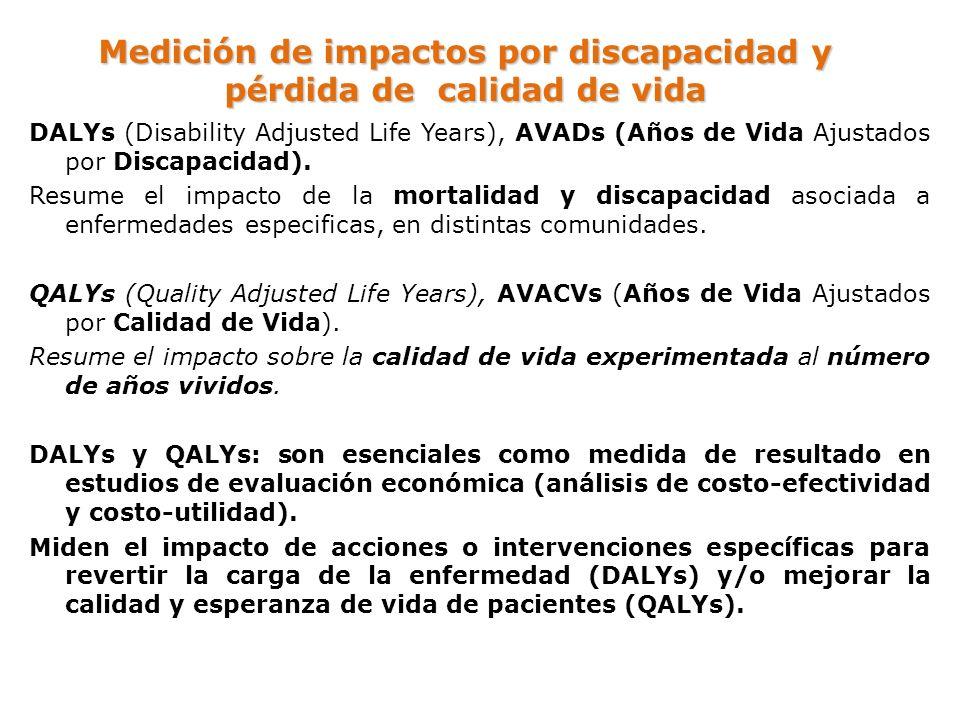 Medición de impactos por discapacidad y pérdida de calidad de vida DALYs (Disability Adjusted Life Years), AVADs (Años de Vida Ajustados por Discapaci