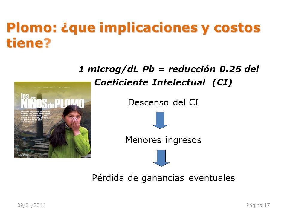 09/01/2014Página 17 1 microg/dL Pb = reducción 0.25 del Coeficiente Intelectual (CI) Descenso del CI Menores ingresos Pérdida de ganancias eventuales