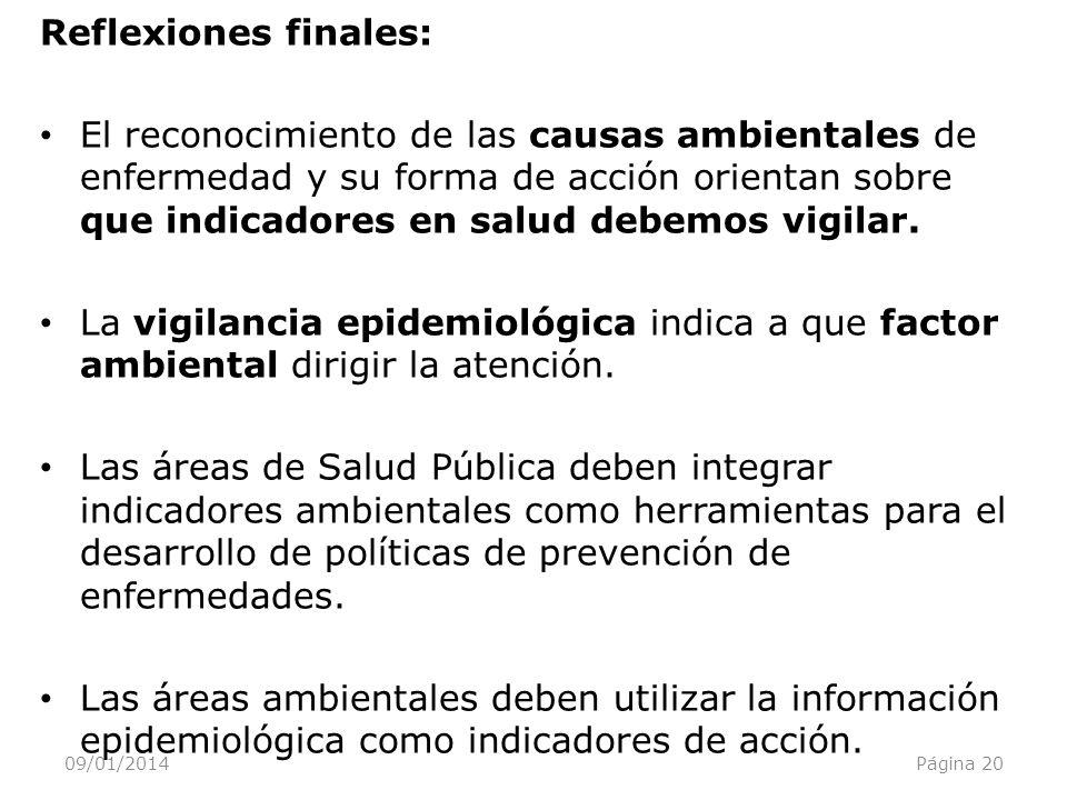 09/01/2014Página 20 Reflexiones finales: El reconocimiento de las causas ambientales de enfermedad y su forma de acción orientan sobre que indicadores