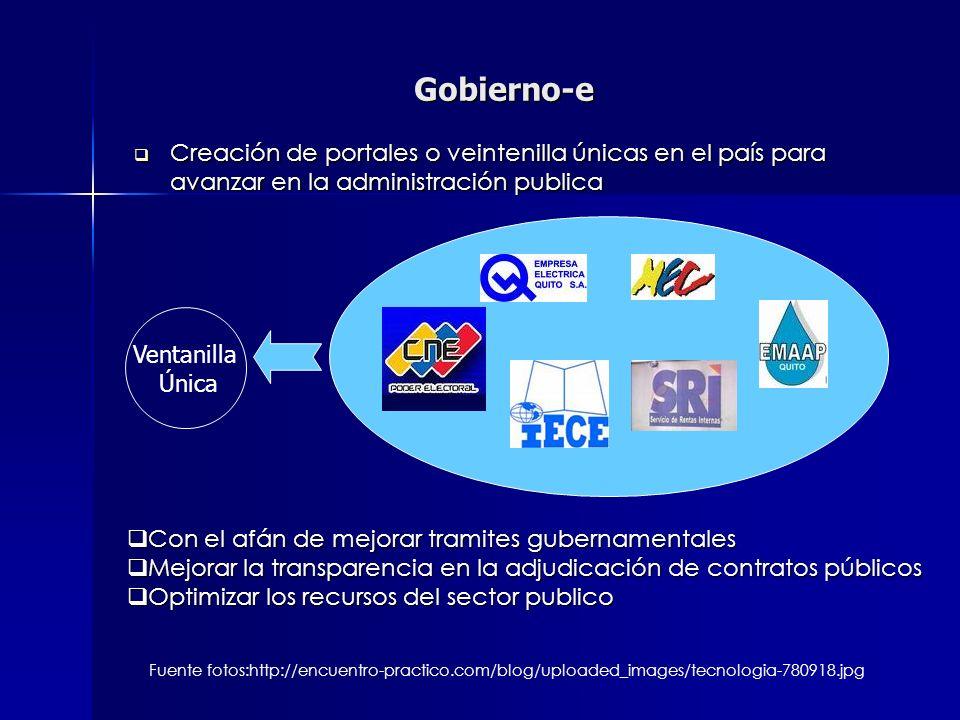 Gobierno-e Creación de portales o veintenilla únicas en el país para avanzar en la administración publica Creación de portales o veintenilla únicas en