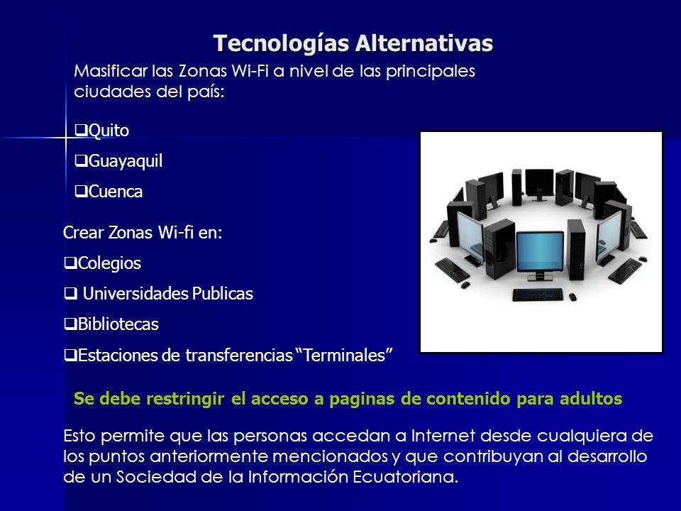 Tecnologías Alternativas Masificar las Zonas Wi-Fi a nivel de las principales ciudades del país: Quito Guayaquil Cuenca Crear Zonas Wi-fi en: Colegios