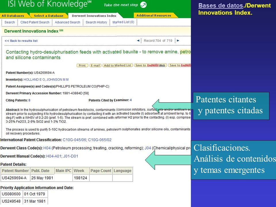 Clasificaciones. Análisis de contenidos y temas emergentes Patentes citantes y patentes citadas Bases de datosBases de datos./Derwent Innovations Inde