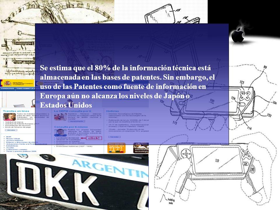 2 Se estima que el 80% de la información técnica está almacenada en las bases de patentes. Sin embargo, el uso de las Patentes como fuente de informac