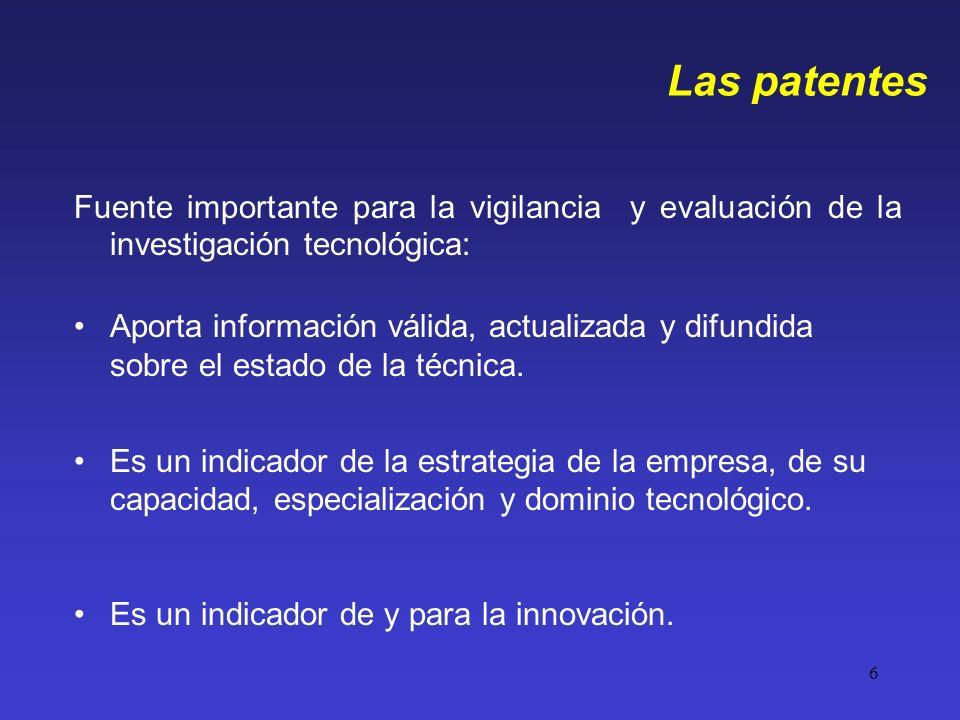 6 Las patentes Fuente importante para la vigilancia y evaluación de la investigación tecnológica: Aporta información válida, actualizada y difundida s