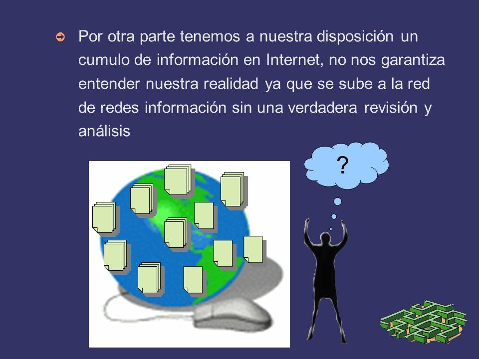 Por otra parte tenemos a nuestra disposición un cumulo de información en Internet, no nos garantiza entender nuestra realidad ya que se sube a la red