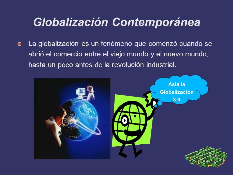 Globalización Contemporánea La globalización es un fenómeno que comenzó cuando se abrió el comercio entre el viejo mundo y el nuevo mundo, hasta un po