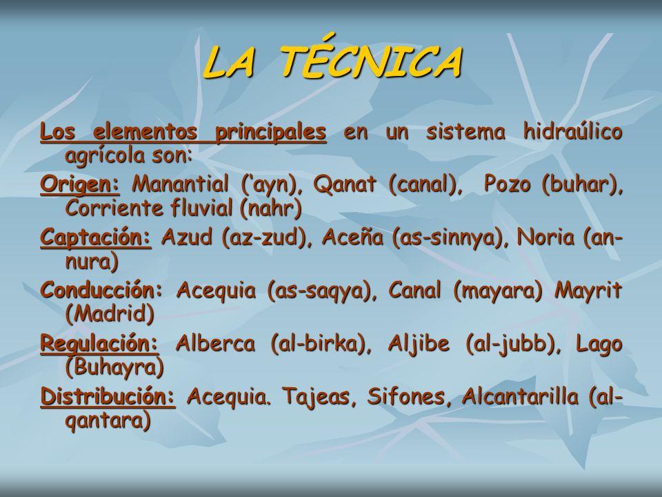 LA TÉCNICA Los elementos principales en un sistema hidraúlico agrícola son: Origen: Manantial (ayn), Qanat (canal), Pozo (buhar), Corriente fluvial (n