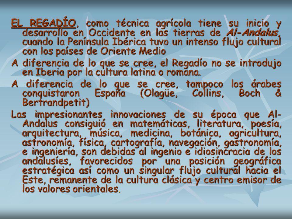 EL REGADÍO, como técnica agrícola tiene su inicio y desarrollo en Occidente en las tierras de Al-Andalus, cuando la Península Ibérica tuvo un intenso