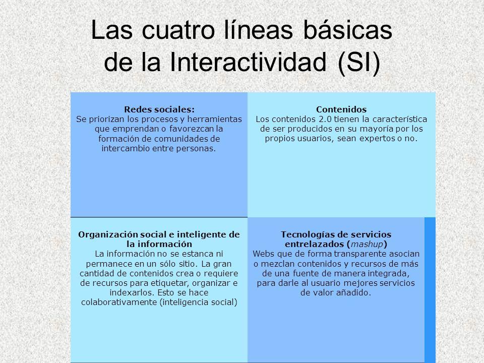 Byron Guevara Sociedad de la información Las cuatro líneas básicas de la Interactividad (SI) Redes sociales: Se priorizan los procesos y herramientas
