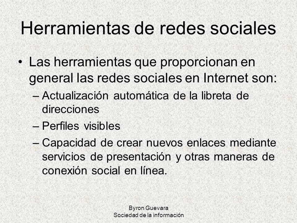 Byron Guevara Sociedad de la información Herramientas de redes sociales Las herramientas que proporcionan en general las redes sociales en Internet so