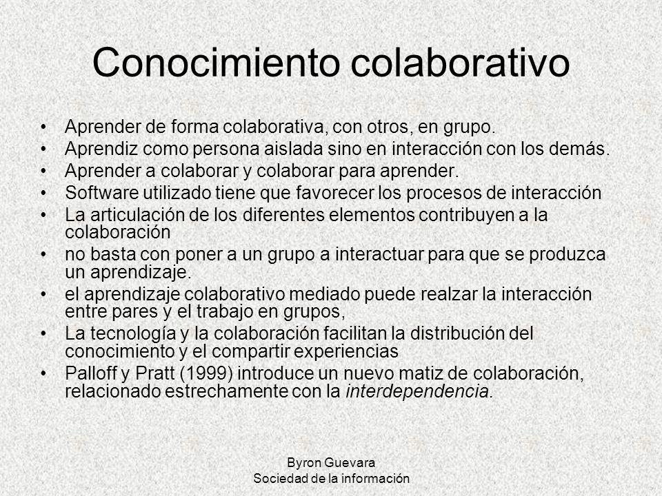 Byron Guevara Sociedad de la información Conocimiento colaborativo Aprender de forma colaborativa, con otros, en grupo. Aprendiz como persona aislada
