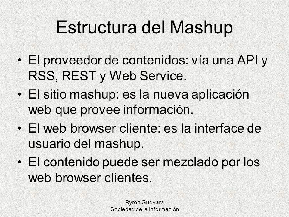 Byron Guevara Sociedad de la información Estructura del Mashup El proveedor de contenidos: vía una API y RSS, REST y Web Service. El sitio mashup: es