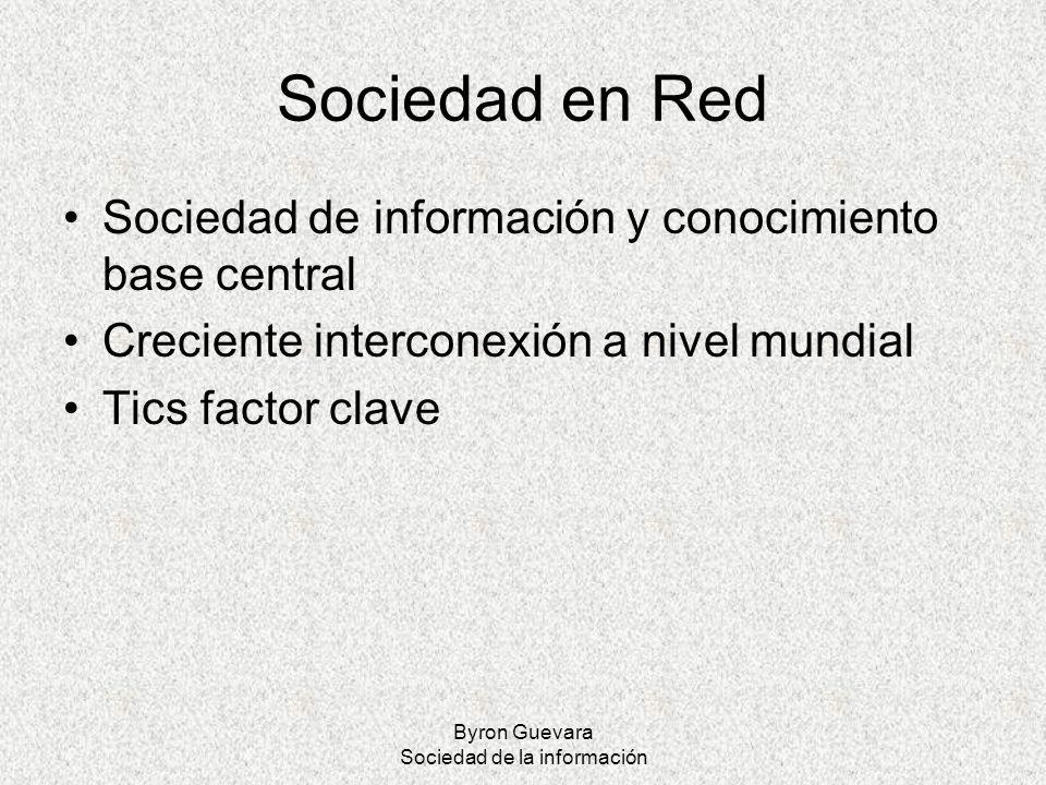 Byron Guevara Sociedad de la información Sociedad en Red Sociedad de información y conocimiento base central Creciente interconexión a nivel mundial T