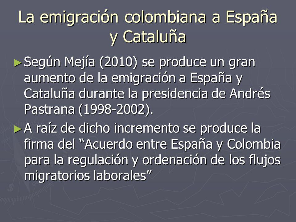 La emigración colombiana a España y Cataluña Según Mejía (2010) se produce un gran aumento de la emigración a España y Cataluña durante la presidencia de Andrés Pastrana (1998-2002).