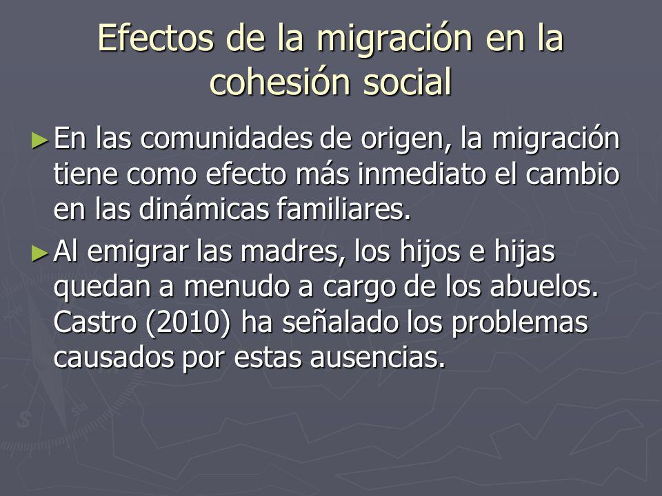 Efectos de la migración en la cohesión social En las comunidades de origen, la migración tiene como efecto más inmediato el cambio en las dinámicas familiares.