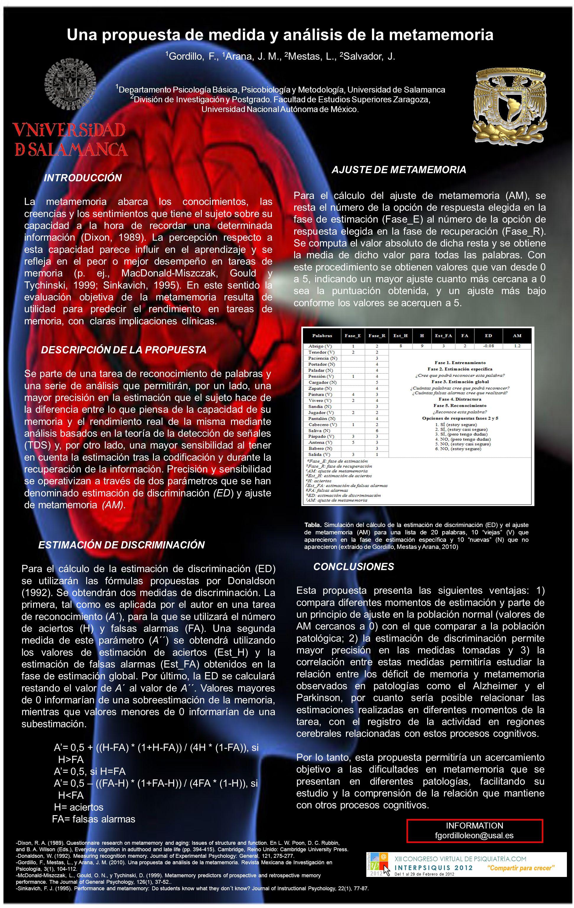 Una propuesta de medida y análisis de la metamemoria 1 Gordillo, F., 1 Arana, J. M., 2 Mestas, L., 2 Salvador, J. 1 Departamento Psicología Básica, Ps