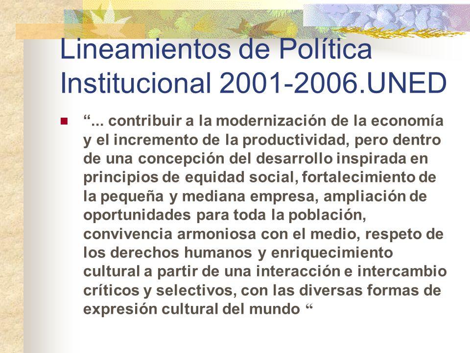 Lineamientos de Política Institucional 2001-2006.UNED... contribuir a la modernización de la economía y el incremento de la productividad, pero dentro