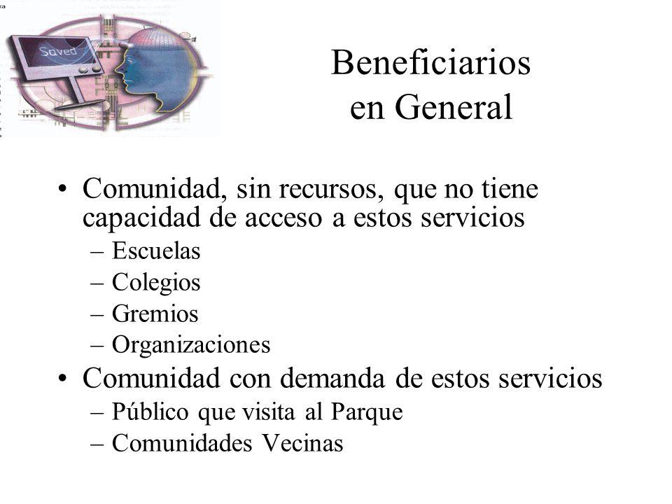Beneficiarios en General Comunidad, sin recursos, que no tiene capacidad de acceso a estos servicios –Escuelas –Colegios –Gremios –Organizaciones Comu
