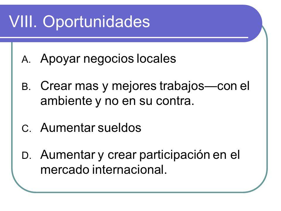 VIII.Oportunidades A. Apoyar negocios locales B.