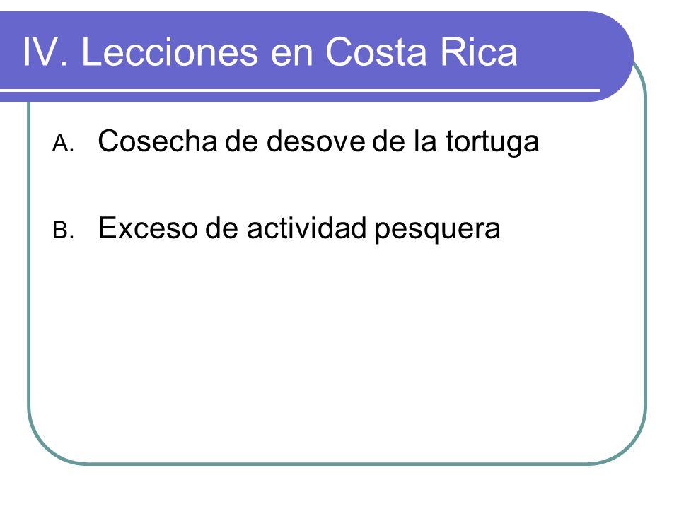 IV. Lecciones en Costa Rica A. Cosecha de desove de la tortuga B. Exceso de actividad pesquera